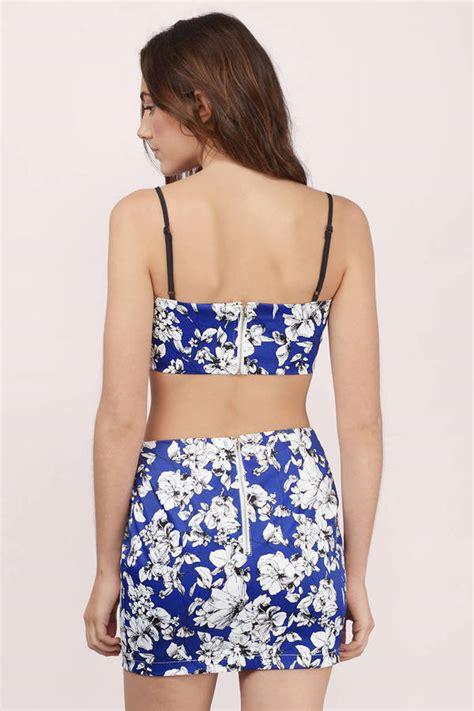 Set Flowery Dress navy bodycon dress 2 dress floral print bodycon