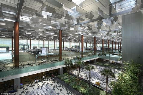 singapores changi airport  spend   indoor forest