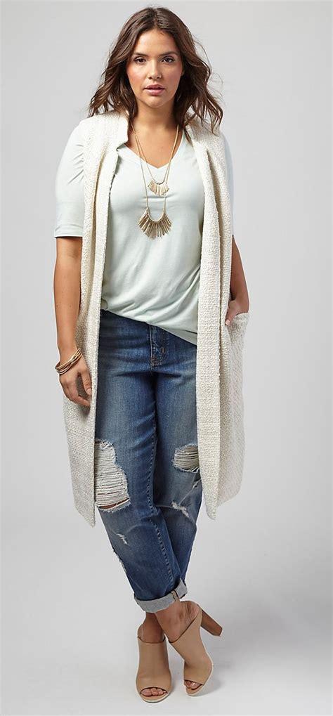 jean styles and cuts for plus sizes plus size long boucle vest plus size fashion pinterest