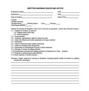 written warning template sle written warning template 10 free documents in pdf