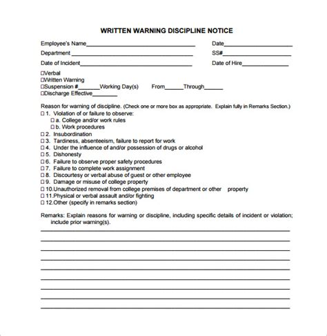 Employee Written Warning Template sle written warning template 10 free documents in pdf