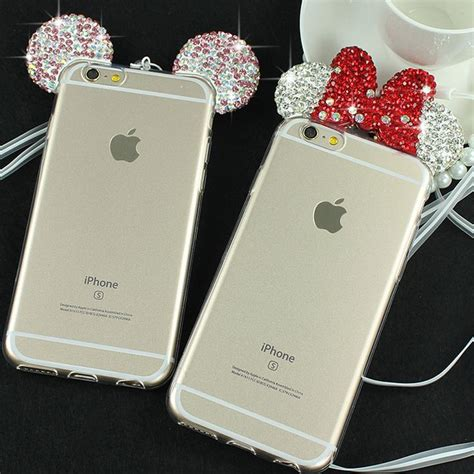 Casecassingcasing For Iphone 6 6s Plus Soft Minnie 3d minnie mickey mouse for iphone 6 6s 6 plus 6s plus rhinestone ears soft