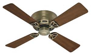 ceiling fans hunter 42 quot low profile iii ceiling fan 23860 in antique brass guaranteed lowest price