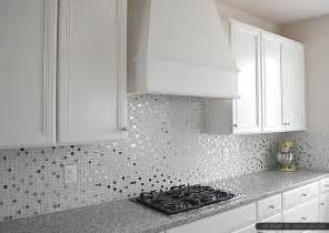 Kitchen Tile Backsplash Ideas With White Cabinets by Luna Pearl Countertop White Glass Metal Backsplash