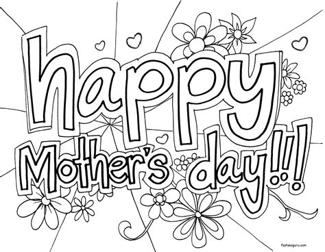 Printable Happy Mothers Day Coloring In Sheet Happy Mothers Day Coloring Pages