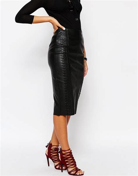 river island river island whipstitch faux leather pencil