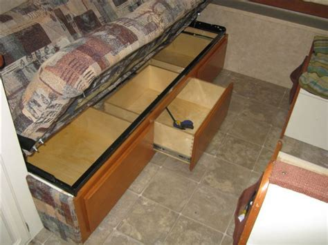 under couch storage ideas drawers under the sofa is a must rv net open roads forum