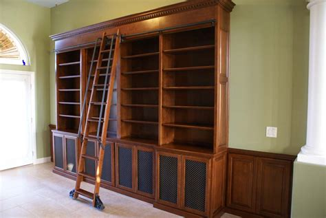 Bookcase With Rolling Ladder Custom Bookcases With Library Ladders Platinum Cabinetry