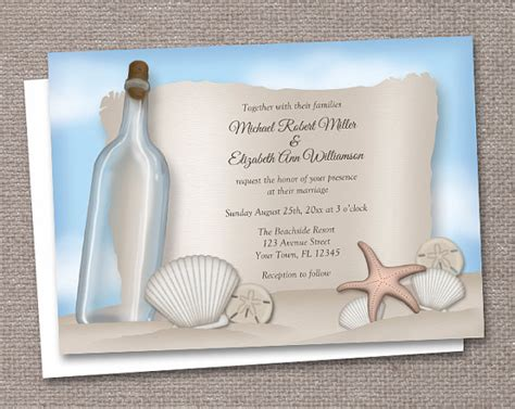 5 best images of beach wedding invitations printable