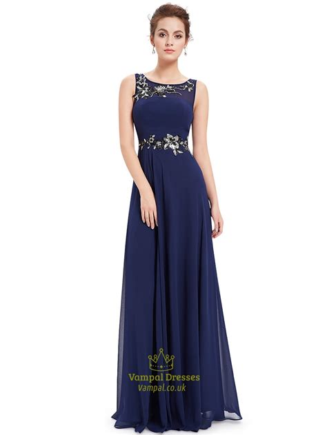 navy blue floor l navy blue a line chiffon floor length formal dress with