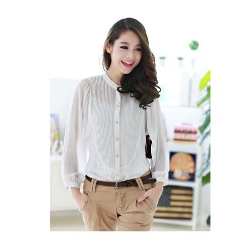 Top Kemeja Putih Fashion Casual Wanita Bagus Murah kemeja kerja putih lengan panjang toko baju