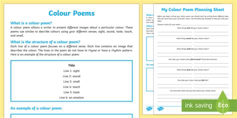 color poem template colour poem writing template literacy examining literature