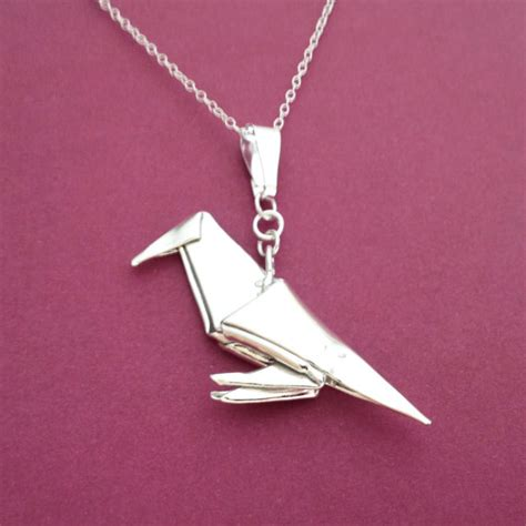 Origami Bird Necklace - silver origami pendant pendant origami by