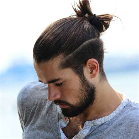 hair cuts men long hair shaved side bun 21 man bun styles