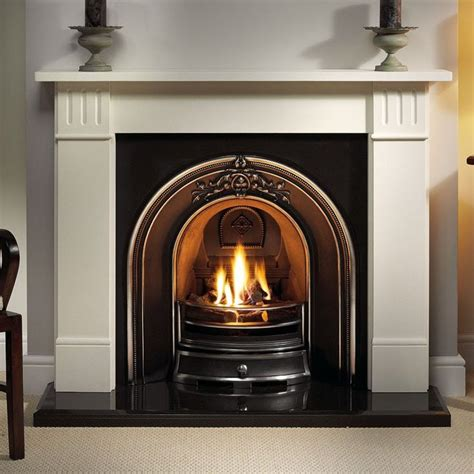 fireplaces images gallery clarendon limestone fireplace with landsdowne cast iron arch fireplaces are us