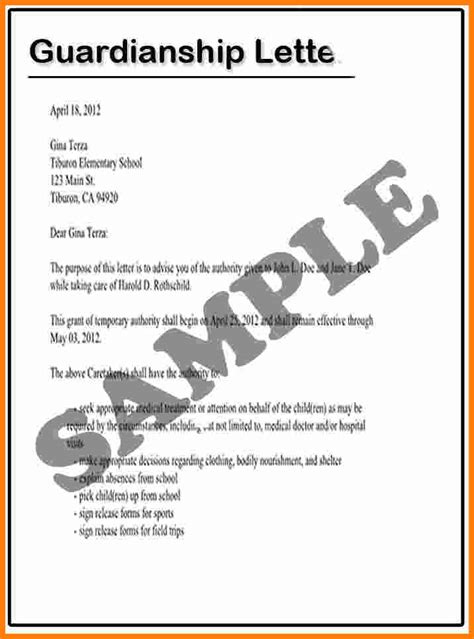 Temporary Guardianship Letter Template Free 10 Temporary Guardianship Letter For Travel Ledger Paper