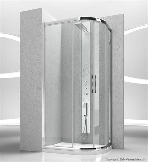 vismara doccia box doccia angolare semicircolare in cristallo con porte