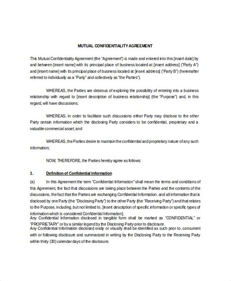 11 confidentiality agreement templates free