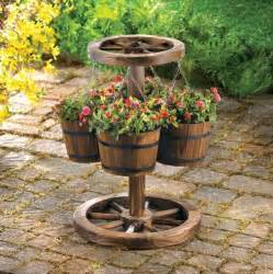 outdoor home decor western decor wood barrel planter eclectic outdoor