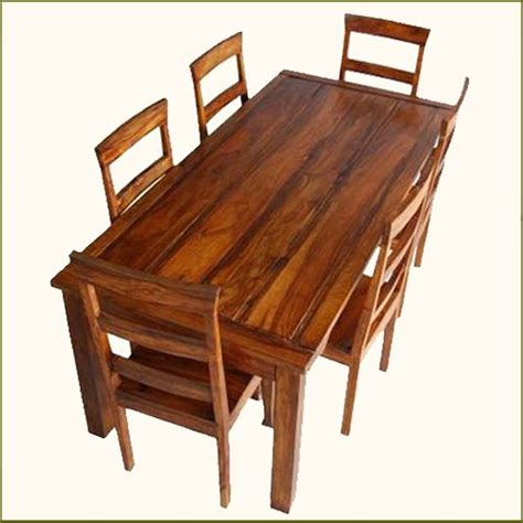 Handmade Dining Tables - appalachian rustic 7 pc dining table and chair set indian