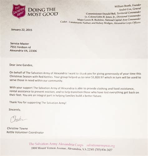 Salvation Army Community Service Letter Servicemaster Ncr Helped The Salvation Army Raise Money The Holidays With Kettles