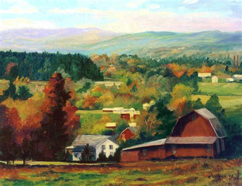 Landscape Paintings New York Reeds Farm Ithaca New York Painting By Ethel Vrana