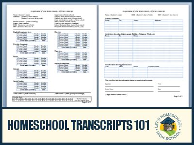 Homeschool Transcripts 101 171 Letshomeschoolhighschool Com Transcript Template Excel