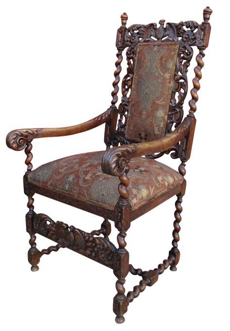 antique high back barley twist chair