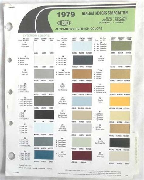 1979 chevrolet pontiac oldsmobile cadillac buick dupont color paint chip chart ebay