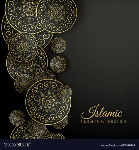 islamic pattern background black beautiful islamic background with mandala vector image