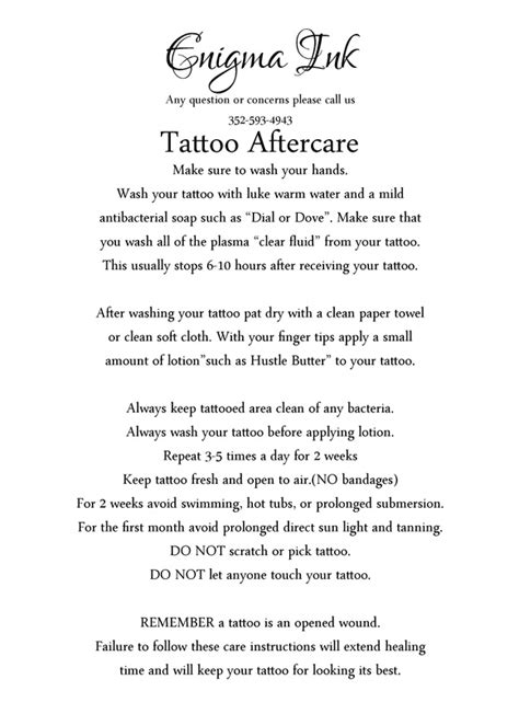 tattoo care instructions swimming forms required for tattooing or piercing minors and