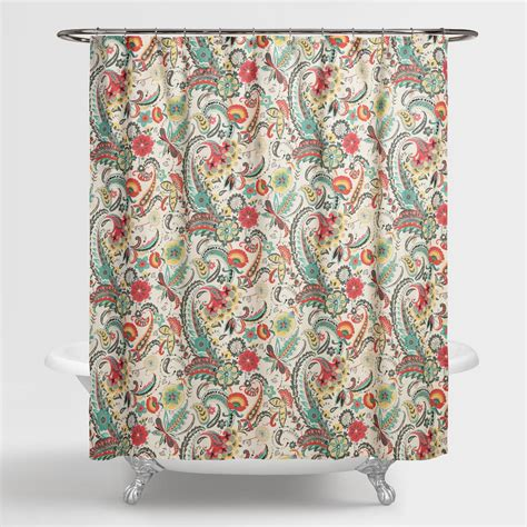 flower shower curtains paisley floral kadiri shower curtain world market