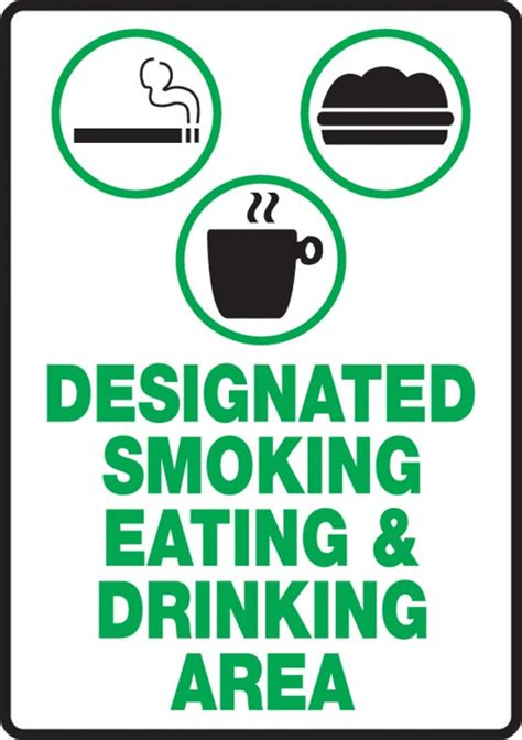 eating and drinking area safety signs signstoyou com designated smoking eating drinking area safety sign msmk921