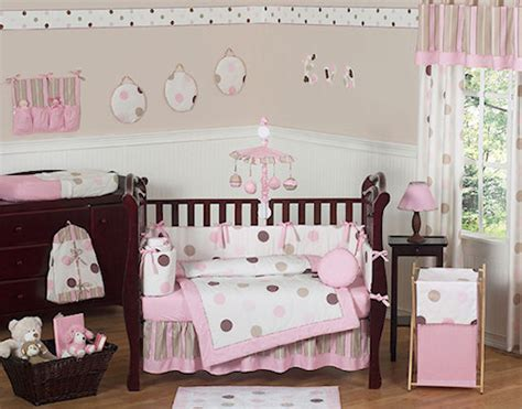 pink and brown nursery pink brown polka dot circles baby crib bedding 9pc