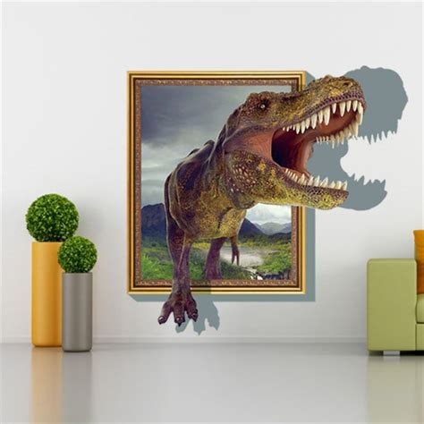 3d home decor dinosaur frame removable wall stickers size 60cm x 90cm alex nld