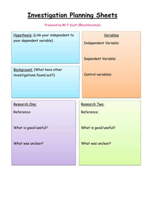 ideas for ks2 science investigations investigation planning sheets for practical science by