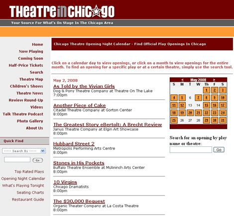 Chicago Theater Calendar Theatre In Chicago Launches Opening Calendar