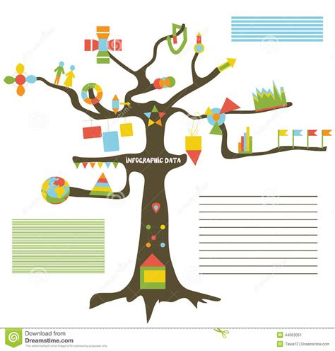 Infographic Data On The Tree Presentation Stock Vector Image 44053051 Family Tree Template Info Graphics