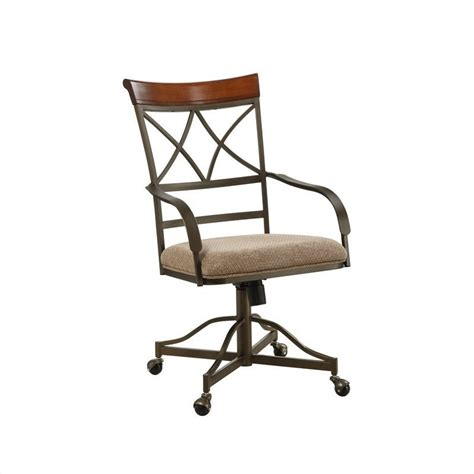 hamilton dining side chair on casters in medium cherry