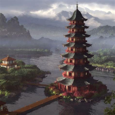 chinese pagoda painting pagodas temples  shrines