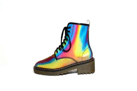 colored boots chromatic colorful footwear hyper color combat boot
