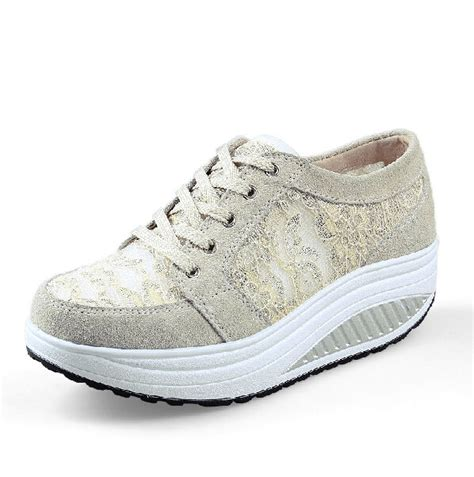 womens comfort lace leather wedge heels platform sneakers