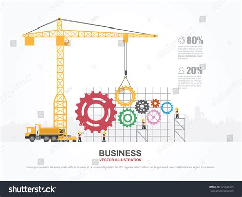 crane template crane gear building infographic template vector stock