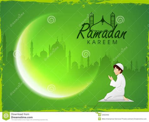 praying muslim boy  crescent moon  ramadan kareem