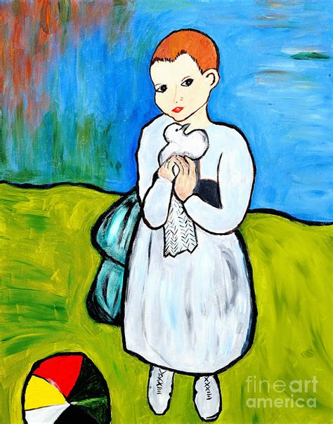 picasso paintings and child child with a dove painting by by danielle