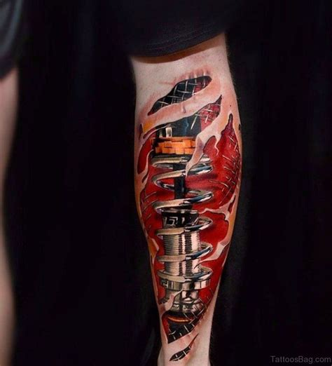 shock tattoo 60 trendy biomechanical tattoos on leg