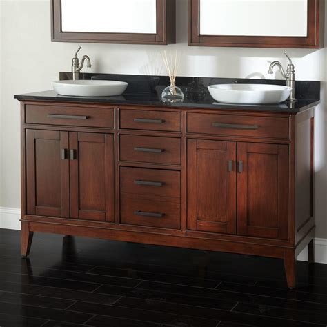 bathroom vanities 60 double sink 60 quot tobacco madison double vanity with vessel sinks bathroom