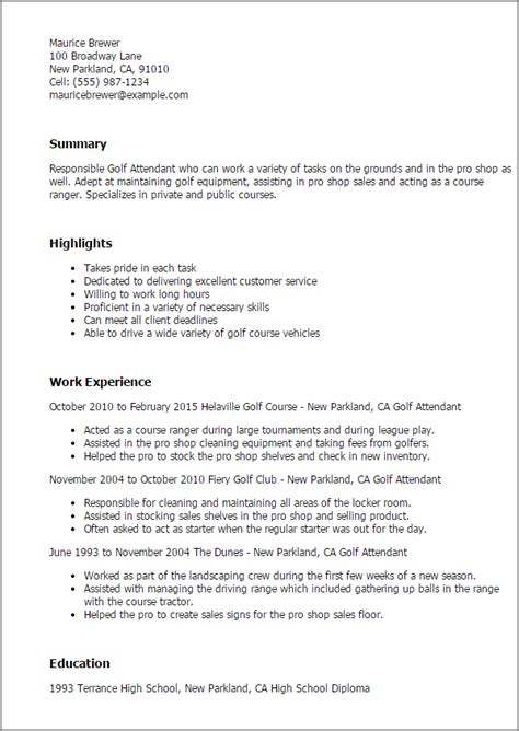 professional golf attendant templates to showcase your talent myperfectresume