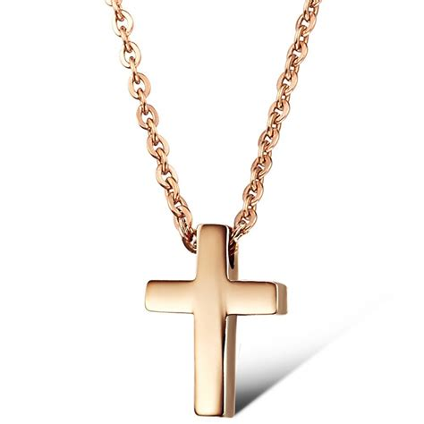 simple design 316l cross pendant necklace jewelry in 18k