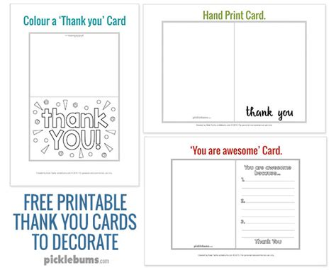 printable thank you cards to make with your